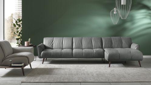 Canapea cu sezlong dreapta Talento textil Brezza Dark Grey