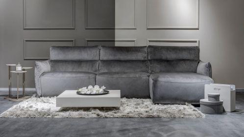 Canapea cu sezlong Stupore Brezza Dark Grey, dreapta