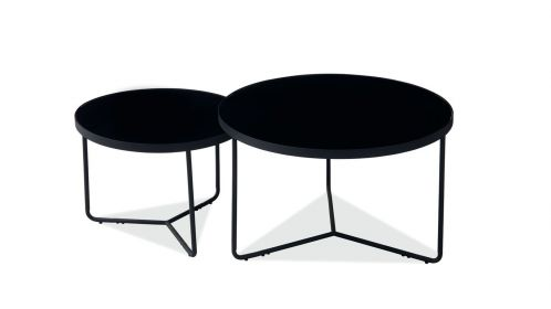 Set 2 masute de cafea Duo Black