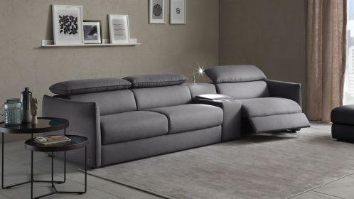 Canapea extensibila cu recliner dreapta Meraviglia Brezza Grey