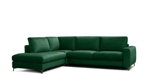 Canapea de colt extensibila Bella Salvador Dark Green S1, stanga