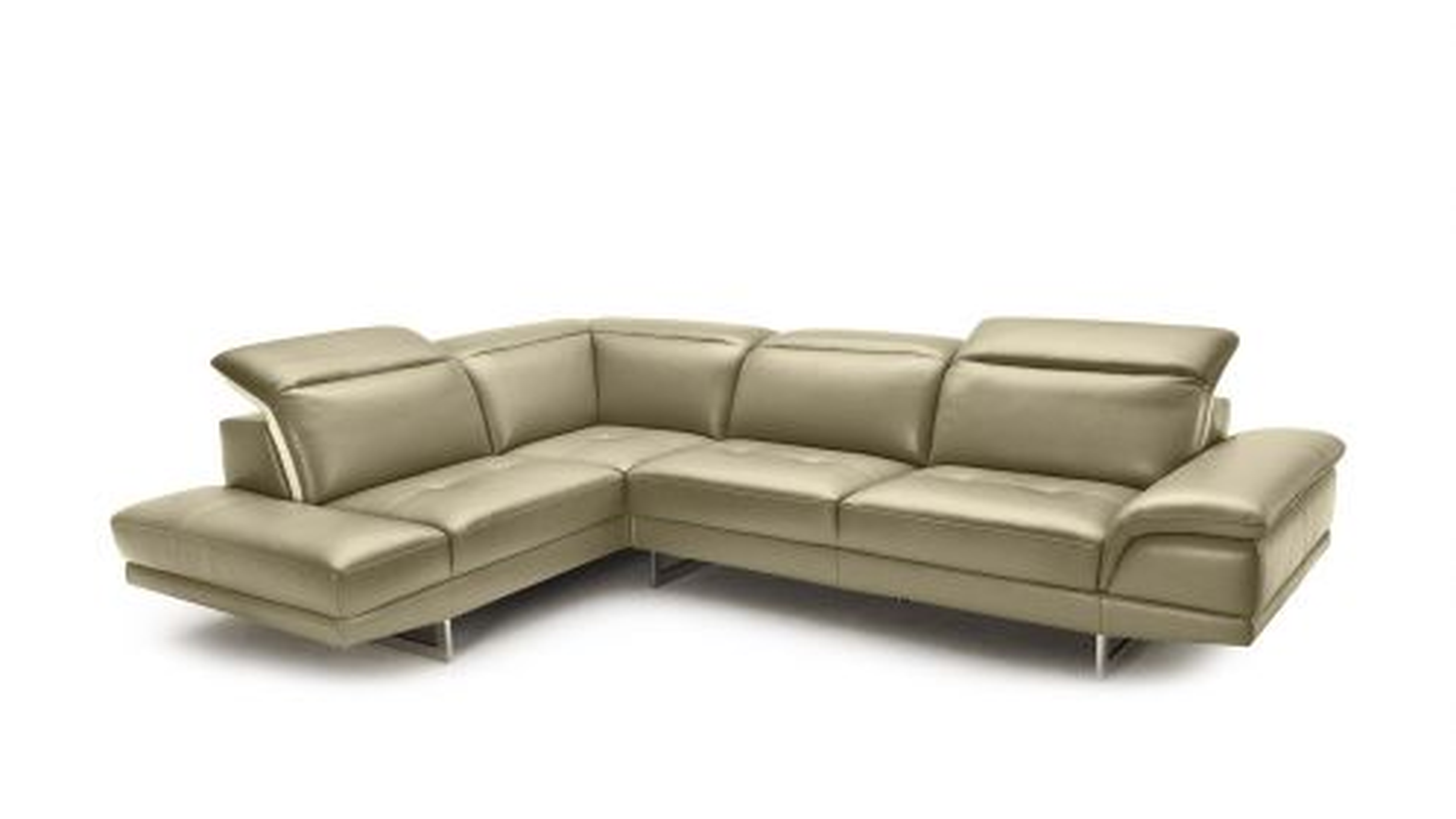 Canapea  de colt Olivia Piele Madrid Medium Grey, stanga