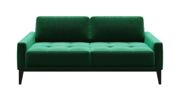 Canapea liniara 2 locuri Calini Velvet Button Green